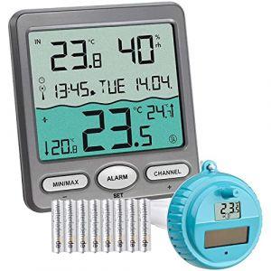 TFA Dostmann Thermomètre de piscine Venise 30,3056,10, pour surveillance de la température de l'eau dans une piscine, bassin ou piscine (gris avec batteries) (Wetterladen - Freizeit- und Sportartikel, neuf)