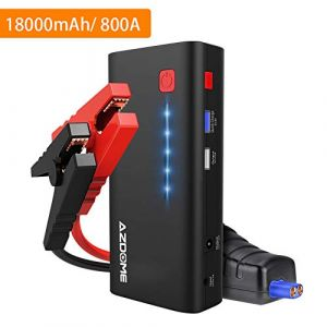 Azdome Booster Batterie Voiture 18000mAh 800A Demarreur de Voiture jusqu'à 6.5L de Gaz et 5.5L de Moteur Diesel Booster Batterie Portable Chargeur Batterie Urgence avec LED Flashlight (AZDOME FR, neuf)