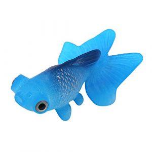 Aquarium Bol De Poisson en Plastique De Natation Poisson Or Betta Poisson Drôle Artificielle en Silicone Petit Poisson Réaliste Faux Poisson Fish Tank Décoration Ornements(Goldfish Bleu) (Otoleeleu, neuf)