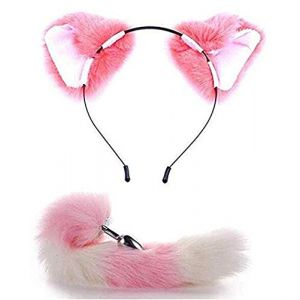 Oreilles de chat moelleuses serre-tête queue de renard B-ütt an-âl Pl-ùg T-ö-ys Cosplay Rose (Jin Yulong, neuf)