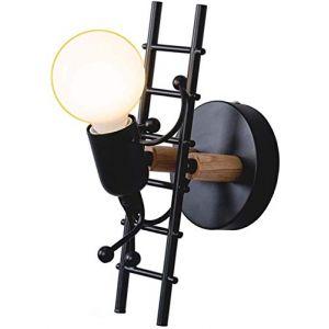 Creative Applique Murale Intérieure Lampe Murale Moderne Applique Murale Lumière Art Déco Fer Pour Chambre, Chambre D'Enfants, Couloir, Restaurant, Escalier E27-Noir (ShinyBanana-FR, neuf)