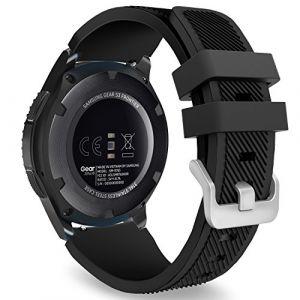 MoKo Gear S3 Frontier Smartwatch Bracelet en Silicone souple pour Samsung Galaxy Gear S3 Frontier / S3 Classic / Moto 360 2nd Gen 46mm Smart Watch, Pas compatible avec S2,S2 Classic,Fit2, Noir (Guohe, neuf)