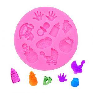 Doitsa 1pcs DIY 3D Liquide Moule en Silicone Forme de Bébé Things pour Faire de Gelée au Lait, Dessert, Gâteau de Décoration, 7.8 * 1cm (Puliyuan, neuf)