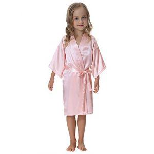 Aibrou Enfant kimono peignoir satin Pour brodé Fille chemise nuit robe Paon Fleurs de chambre longue garçon grande taille (Aibrou-FR, neuf)
