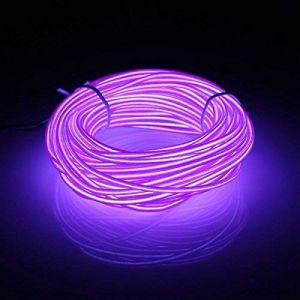 5M EL Wire Fil Neon Flexible Lumiere avec le Pack de batterie Néon brillant l'effet stroboscopique fil électroluminescent Parti de Noel, Halloween Fete, Decoration Voiture (Violet) (San Jison, neuf)