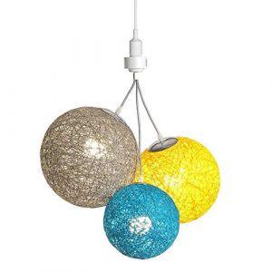 Luminaire Suspension E27-100% prêt à l'emploi sans outils - A visser directement sur une douille E27 - Télécommande sans fil - 3 boules en chanvre naturel - 3 ampoules LED E27 incluses (3x9W)-Nordic (Lighting Arena, neuf)