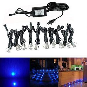 Lot de 10 Lampe de Spot LED Mini Ø18mm Eclairage encastré Inox pour Terrasse Enterré Plafonnier, IP67 Etanche DC12V Lumière Extérieure pour Chemin Escalier Paysage Etape (Bleu) (CHENXU, neuf)