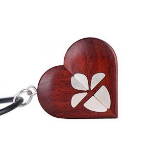 Médaillon Illusionniste avec croix en argent incrusté photo médaillon collier médaillon de coeur avec 2 photos, bois de rose brun foncé avec Croix en argent, cadeau pour lui (Engraved-Gifts, neuf)