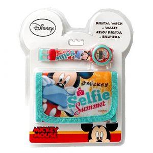 Montre Enfant Quartz Digitale Disney Mickey Minnie Plus Portefeuille (K-li concept, neuf)