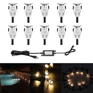 Lot de 10 Lampe de Spot LED Mini Ø18mm Eclairage encastré Inox pour Terrasse Enterré Plafonnier, IP67 Etanche DC12V Lumière Extérieure pour Chemin Escalier Paysage Etape (Blanc Chaud) (CHENXU, neuf)