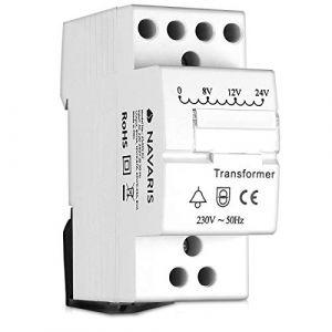 Navaris Transformateur de Sonnette - Transformateur 220V 240V vers 8V 12V 24V - Installation dans disjoncteur avec Rail DIN - pour Sonnette 8VA (KW-Commerce, neuf)