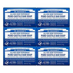 Dr. Bronner's Pure-Castille Savon pour barre - Menthe poivrée - Lot de 6 (Ponera, neuf)