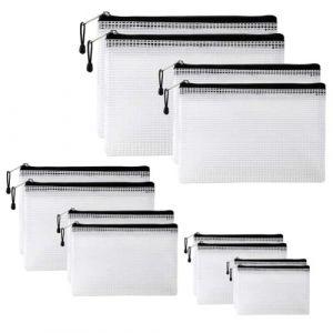 YOTINO 12 Pièces Pochettes pour Documents, Pochette Zippée Souples, Extra Solides et Imperméables, Pochette Zip pour Formats de Papier B4, A4, B5, A5, B6, A6 (YOTINO-EU, neuf)