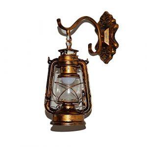 Lèche-murs Vintage Applique Lampe Lanterne Murale Eclairage Mural En Metal Verre E27 Retro Européen Style Lanterne Lampe Murale Antique Lanterne Applique Traditionnel Lampe Extérieure Lanterne Murale (Xia Girl Good Shop, neuf)