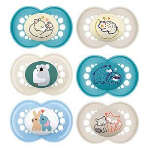 MAM lot de 6 Original Sucette 16+ mois Day & Night en Silicone, 3 x boite de sterilisation (babywaren24, neuf)