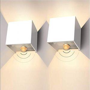 LEDMO 12W Applique Murale Exterieur 2 pièces,IP65 Applique Murale avec capteur de mouvement, Blanc Chaud 3000K 1000LM Lampe Murale Intérieur Moderne Angle de Faisceau Réglable (Oslar, neuf)