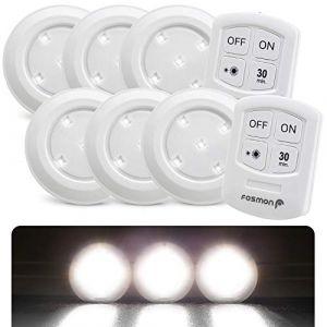 Fosmon Lampe de Placard Spot Adhésive sans Fil (6 Pack), Lampe à Led, Led Spot Autocollant 4000K Blanc avec Télécommande et Contrôle Tactile pour Cabinet Cuisine Couloir - Alimenté par Piles (theWireless USA, neuf)