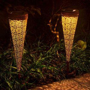 Lanterne solaire exterieur,VIFLYKOO LED Lampe solaire Extérieur IP65 Imperméable Lumière Éclairage Décorative pour Jardin, terrasse, Patio, Pelouse Couloir Allée Fête cour et chemin-2 PACK (nuokewei, neuf)