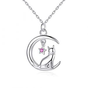 VIKI LYNN Collier argent pendentif chat mignon bijoux femme en argent fin 925 et zircon cadeau parfait pour les femmes filles (chat 7) (VIKI LYNN Direct, neuf)