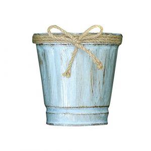 Fleur Pot de fleurs Pots Pot de fleurs Pot de fleurs Creative Pot de fleurs - Petit Seau en Fer Seau avec décoratif à la Main à Tricoter Bowknot, Mini Pot de Fleur en métal fer Porte décoration (Serria, neuf)