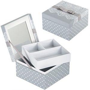 Boîte à Bijoux DENTELLE avec Miroir - Coffret de Rangement pour Femme - Mathilde M (MAKING UP, neuf)