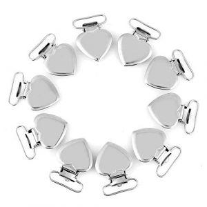 10pcs Attache Sucette Dentition Jouets, Clips de Pince bretelle en métal en forme de coeur clips pour sucette sangle (Yokuna eu, neuf)