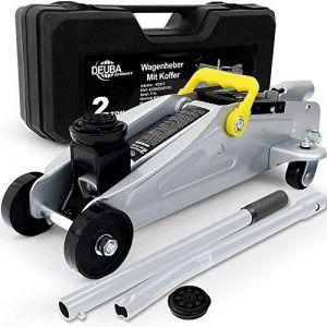 Deuba | Cric hydraulique • 2 tonnes • compact et fort • patin en caoutchouc inclus • valise de transport incluse | Vérin hydraulique, voiture, mécanique (FR-DEUBA, neuf)