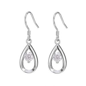 Pour les femmes enargent sterling couleur zircon diamant boucle d'oreille goutte d'eau Brinco pour les femmes goutte boucle d'oreille (Graceguoer, neuf)