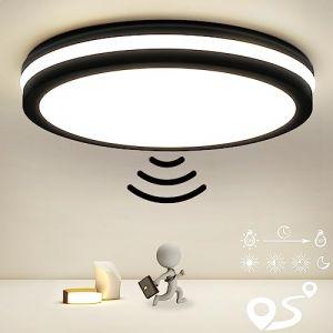 Plafonnier LED avec détecteur de mouvement, portée, seuil de temps et de crépuscule réglables, 18 W 1800 lm, 4000 K, blanc neutre, IP54, lampe de salle de bain pour salon, salle de bain, bureau (OPPEARL, neuf)