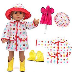 vamei Manteau de Pluie de vêtements de poupée DE 18 Pouces pour des poupées américaines de Fille avec Le Parapluie Rose Chaud, Les Bottes Jaunes et Le Chapeau coloré de Point (Joinfun, neuf)