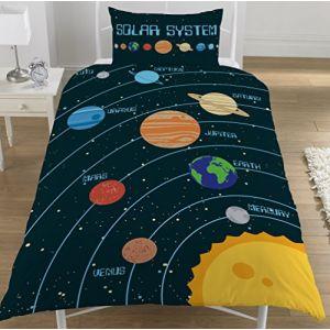 Housse de couette planètes du système solaire simple/double réversible Parure de lit espace, 50 % coton, 50 % polyester, Housse de couette 1 personne (KWorld, neuf)