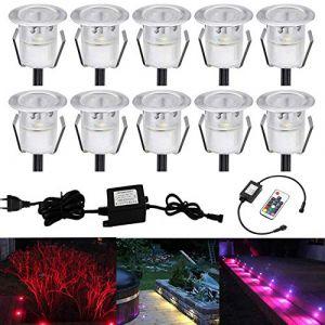 Lot de 10 LED Spot Encastrable Extérieur - Mini spot encastré de Ø30mm Eclairage Encastrables Extérieur pour Terrasse Enterre, IP67 Etanche DC12V Lumière Moderne pour Chemin Escalier Paysage(Multi-Couleur,Changeable) (CHENXU, neuf)
