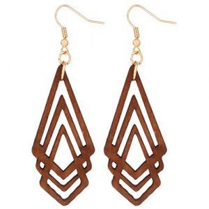 INSEET Rhombus bois pendentif artisanat pour boucle d'oreille pendentif bijoux pour femmes filles (shanlv29, neuf)
