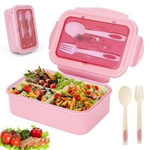 Sinwind Lunch Box, Bento Box, Boite Bento, Boîte Bento1400 ML avec 3 Compartiments et Couverts (Rose) (Saisilun, neuf)