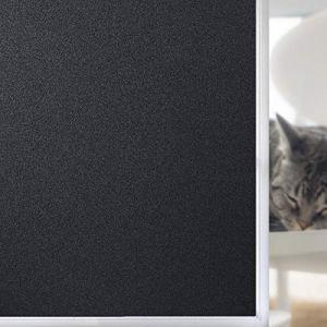 FEOMOS Film Fenêtre Anti Regard Film Occultant Noir Total Film Opaque pour Vitre Intimité Film Repositionnable Noir Réutilisable 44cm x 200cm (FEOMOS DIRECT, neuf)