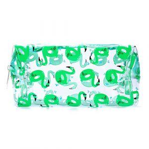 Transparent Trousse scolaire Sac a Crayon Trousse de toilette Trousse en PVC Plumier Organisateur trousse a maquillage (Vert) (Queque Shine, neuf)