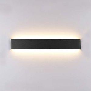 Klighten Appliques Murales LED Pour IntéRieur, ÉClairage Mural Moderne En Aluminium 51CM 16W, Haut Et Bas Appliques Murales Blanc Chaud IP44 Pour Chambre, Salon, Etescaliers Et Salle De Bains,Noire (Oppsun-EU, neuf)