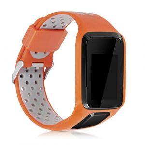 kwmobile Bracelet Compatible avec Tomtom Adventurer/Runner 3/Spark 3/Golfer 2 - Bracelet de Rechange en Silicone pour Fitness Tracker Orange-Gris (KW-Commerce, neuf)