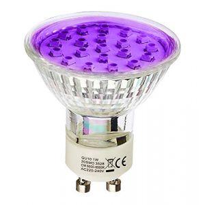 Ampoule LED GU10 à 20 LEDs 1.5W Violet HIPOW (SIAGEO-LED, neuf)