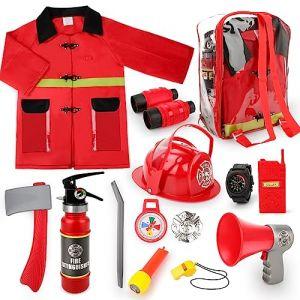 deAO Set de Costume de Pompier avec 13 Accessoires, Un Sac de Rangement et Un extincteur de feu à Eau (deAO, neuf)
