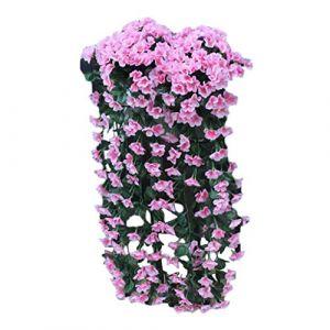 Fleurs artificielles, Mamum Suspension Fleurs Artificielle Fleur Violette Mur De Glycine Panier Suspendu Guirlande Fleurs De Vigne Faux Soie Orchidée Jardin De Mariage Décoration de La Maison (Rose) (MAXimum, neuf)