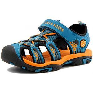 SAGUARO Sandales Enfant Garçon Respirantes Cuir Souple Plage Sandales Fille Summer Outdoor Plates Semelle Néoprène Sandales Bleu GR.28 (BAIBANG, neuf)