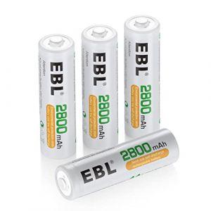 EBL Lot de 4 unités 2800mAh AA Piles Rechargeables Ni-Mh 1200cycles (EBL Official, neuf)
