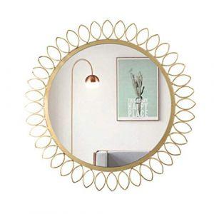 Miroirs Murale Salle de bains Murale Murale Décorative Tenture murale Chambre ronde Vanité Nordic Evier en Fer Forgé Famille (Couleur: Or, Taille: 62x44cm) (JiangFeng, neuf)