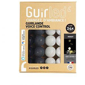 Guirlande lumineuse boules coton LED USB - Commande Vocale - Amazon Alexa & Google Assistant - Programmable à l'infini - Chargeur double USB 2A inclus - 24 boules - Minuit (Lighting Arena, neuf)