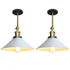 Lot de 2 Rétro Plafonnier Industriel Métal Style Parapluie Chapeau, Lampe Applique Murale Eclairage Luminaire E27 pour Cuisine Salle à manger Salon Chambre (220mm Blanc) (STOEX, neuf)