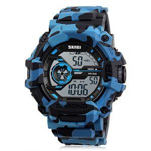 Garçon Montre Numérique Camouflage Bleu Sports Militaire Style Alarme LED Lumière Chronomètre Étanche (Bozlun Watch Store, neuf)