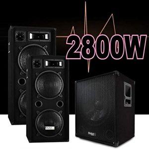 Pack sono dj 2800w cube 1512 avec caisson amplifiée - encentes - cables hp et pc led pa dj led light sound (Starmix, neuf)