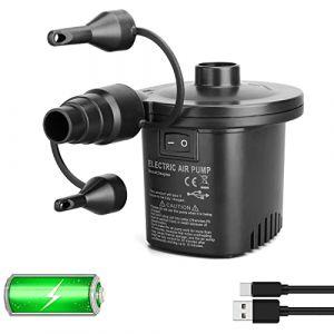 Deeplee Pompe à Air Électrique, 2 en 1 Rechargeable Gonfleur/Degonfleur Electrique Pompe À Air Portable Rapide Gonfleur Électrique avec 3 Buses pour Matelas Gonflable,Un Adaptateur USB 5V Inclus (SOTOP, neuf)