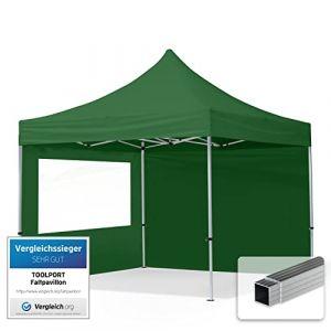 TOOLPORT Tente Pliante 3x3 m - 2 côtés Aluminium Barnum Chapiteau Pliant Tonnelle Stand Paddock Réception Abri PES300 Vert (INTENT24, neuf)